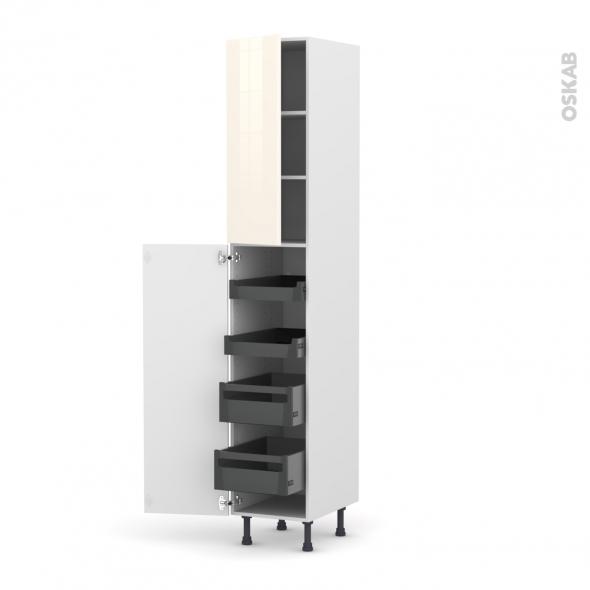 Colonne de cuisine N°2326 - Armoire de rangement - KERIA Ivoire - 4 tiroirs à l'anglaise - L40 x H217 x P58 cm