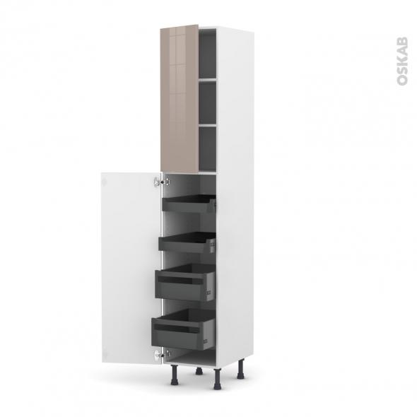 Colonne de cuisine N°2326 - Armoire de rangement - KERIA Moka - 4 tiroirs à l'anglaise - L40 x H217 x P58 cm