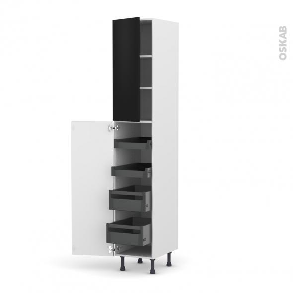 Colonne de cuisine N°2326 - Armoire de rangement - GINKO Noir - 4 tiroirs à l'anglaise - L40 x H217 x P58 cm