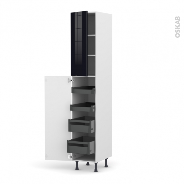 Colonne de cuisine N°2326 - Armoire de rangement - KERIA Noir - 4 tiroirs à l'anglaise - L40 x H217 x P58 cm
