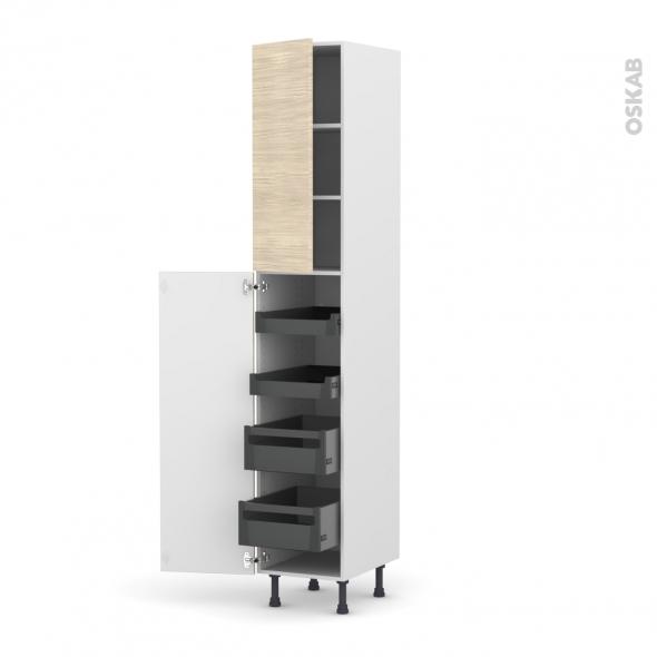 Colonne de cuisine N°2326 - Armoire de rangement - STILO Noyer Blanchi - 4 tiroirs à l'anglaise - L40 x H217 x P58 cm