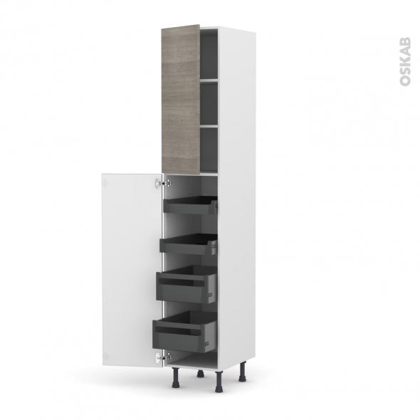 STILO Noyer Naturel - Armoire rangement N°2326 - 4 tiroirs à l'anglaise - L40xH217xP58