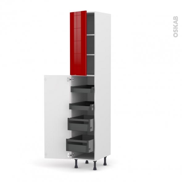 Colonne de cuisine N°2326 - Armoire de rangement - STECIA Rouge - 4 tiroirs à l'anglaise - L40 x H217 x P58 cm