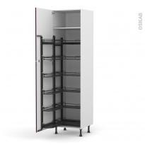 Colonne de cuisine N°2724 - Armoire de rangement - KERIA Aubergine - 12 paniers plateaux - L60 x H217 x P58 cm