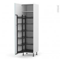 Colonne de cuisine N°2724 - Armoire de rangement - KERIA Bleu - 12 paniers plateaux - L60 x H217 x P58 cm