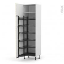 Colonne de cuisine N°2724 - Armoire de rangement ouvrante - HOSTA Chêne naturel - 12 paniers plateaux - L60 x H217 x P58 cm