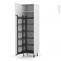 Colonne de cuisine N°2724 - Armoire de rangement - IKORO Chêne clair - 12 paniers plateaux - L60 x H217 x P58 cm