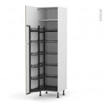 Colonne de cuisine N°2724 - Armoire de rangement - KERIA Moka - 12 paniers plateaux - L60 x H217 x P58 cm