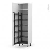 Colonne de cuisine N°2724 - Armoire de rangement - STILO Noyer Blanchi - 12 paniers plateaux - L60 x H217 x P58 cm