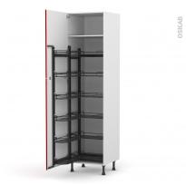 Colonne de cuisine N°2724 - Armoire de rangement - STECIA Rouge - 12 paniers plateaux - L60 x H217 x P58 cm