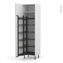 Colonne de cuisine N°2724 - Armoire de rangement - GINKO Taupe - 12 paniers plateau - L60 x H217 x P58 cm