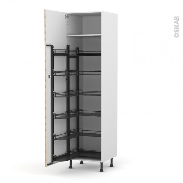 Colonne de cuisine N°2724 - Armoire de rangement - HOSTA Chêne naturel - 12 paniers plateaux - L60 x H217 x P58 cm