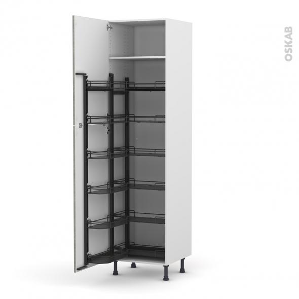 Colonne de cuisine N°2724 - Armoire de rangement - FAKTO Béton - 12 paniers plateaux - L60 x H217 x P58 cm