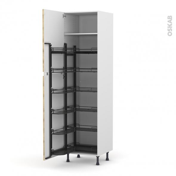 Colonne de cuisine N°2724 - Armoire de rangement - IPOMA Chêne naturel - 12 paniers plateaux - L60 x H217 x P58 cm