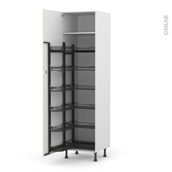Colonne de cuisine N°2724 - Armoire de rangement - KERIA Ivoire - 12 paniers plateaux - L60 x H217 x P58 cm