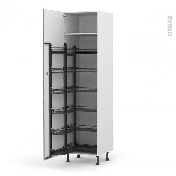 Colonne de cuisine N°2724 - Armoire de rangement - STILO Noyer Naturel - 12 paniers plateaux - L60 x H217 x P58 cm