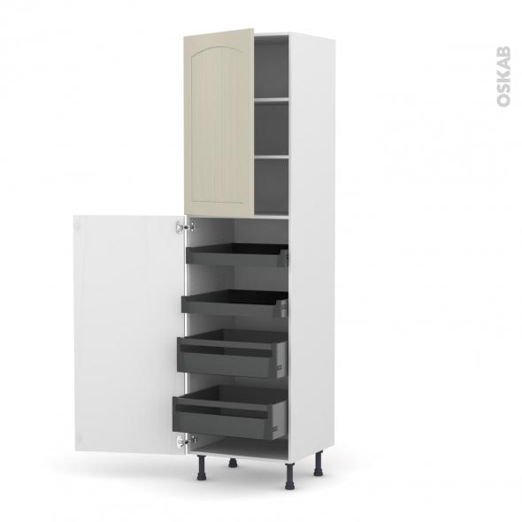 SILEN Argile - Armoire rangement N°2427 - 4 tiroirs à l'anglaise - L60xH217xP58 - gauche