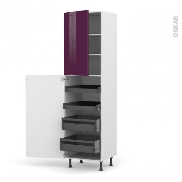 Colonne de cuisine N°2427 - Armoire de rangement - KERIA Aubergine - 4 tiroirs à l'anglaise - L60 x H217 x P58 cm