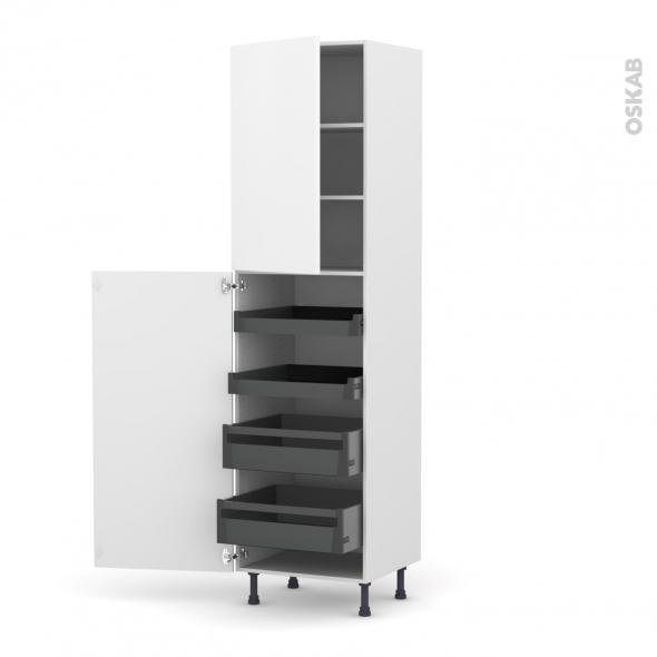 Colonne de cuisine N°2427 - Armoire de rangement - GINKO Blanc - 4 tiroirs à l'anglaise - L60 x H217 x P58 cm