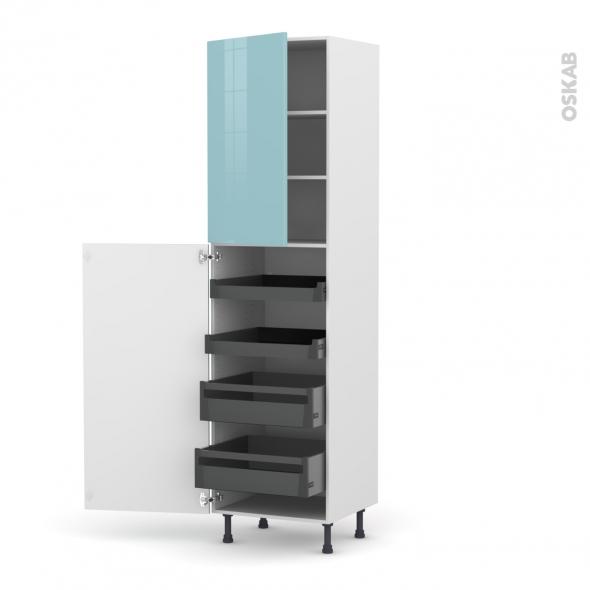 KERIA Bleu - Armoire rangement N°2427 - 4 tiroirs à l'anglaise - L60xH217xP58