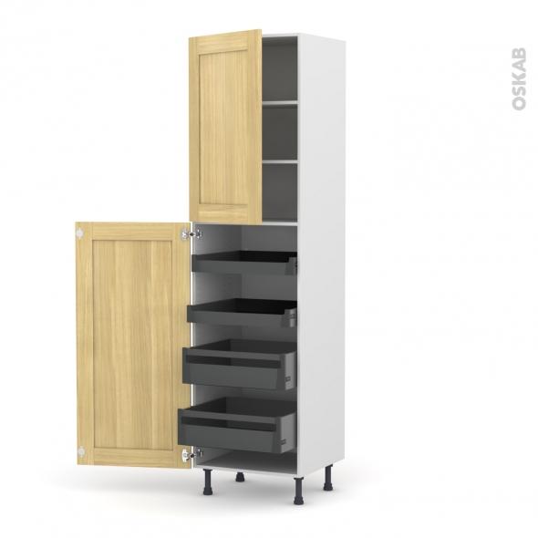 BASILIT Bois Brut - Armoire rangement N°2427 - 4 tiroirs à l'anglaise - L60xH217xP58