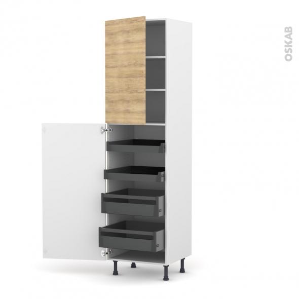 Colonne de cuisine N°2427 - Armoire de rangement - HOSTA Chêne naturel - 4 tiroirs à l'anglaise - L60 x H217 x P58 cm