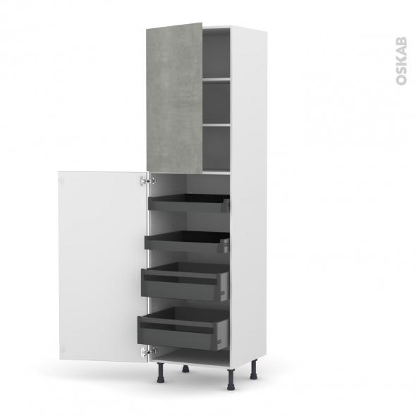 Colonne de cuisine N°2427 - Armoire de rangement - FAKTO Béton - 4 tiroirs à l'anglaise - L60 x H217 x P58 cm