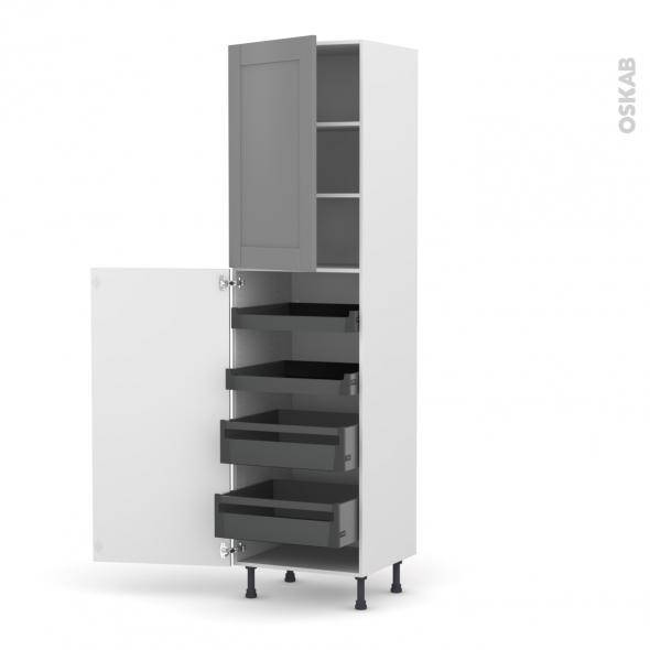 Colonne de cuisine N°2427 - Armoire de rangement - FILIPEN Gris - 4 tiroirs à l'anglaise - L60 x H217 x P58 cm