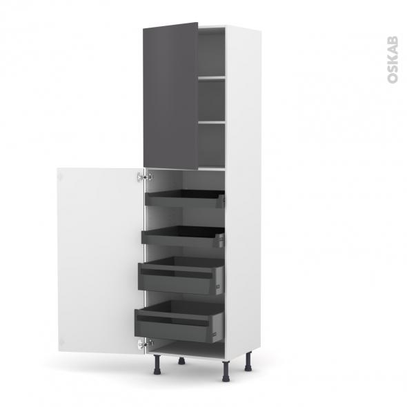 GINKO Gris - Armoire rangement N°2427 - 4 tiroirs à l'anglaise - L60xH217xP58