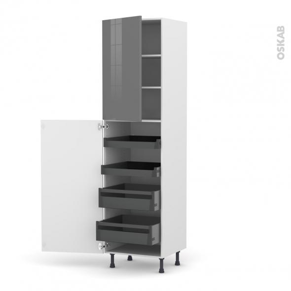 Colonne de cuisine N°2427 - Armoire de rangement - STECIA Gris - 4 tiroirs à l'anglaise - L60 x H217 x P58 cm