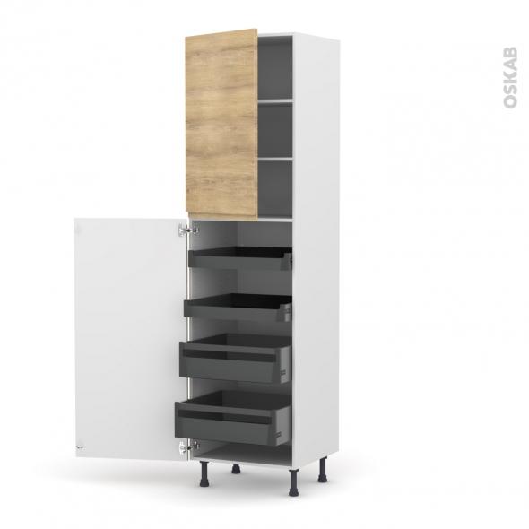 Colonne de cuisine N°2427 - Armoire de rangement - IPOMA Chêne naturel - 4 tiroirs à l'anglaise - L60 x H217 x P58 cm