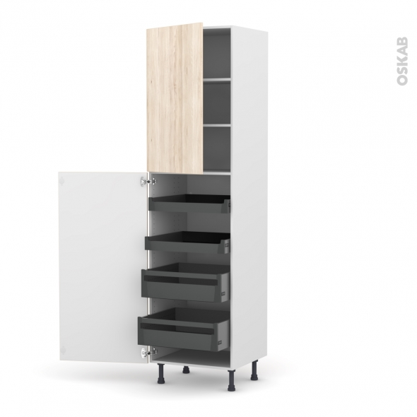 Colonne de cuisine N°2427 - Armoire de rangement - IKORO Chêne clair - 4 tiroirs à l'anglaise - L60 x H217 x P58 cm