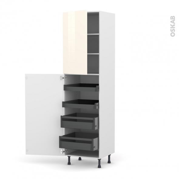 Colonne de cuisine N°2427 - Armoire de rangement - KERIA Ivoire - 4 tiroirs à l'anglaise - L60 x H217 x P58 cm