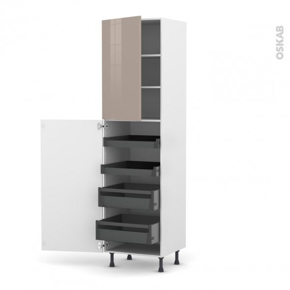 Colonne de cuisine N°2427 - Armoire de rangement - KERIA Moka - 4 tiroirs à l'anglaise - L60 x H217 x P58 cm