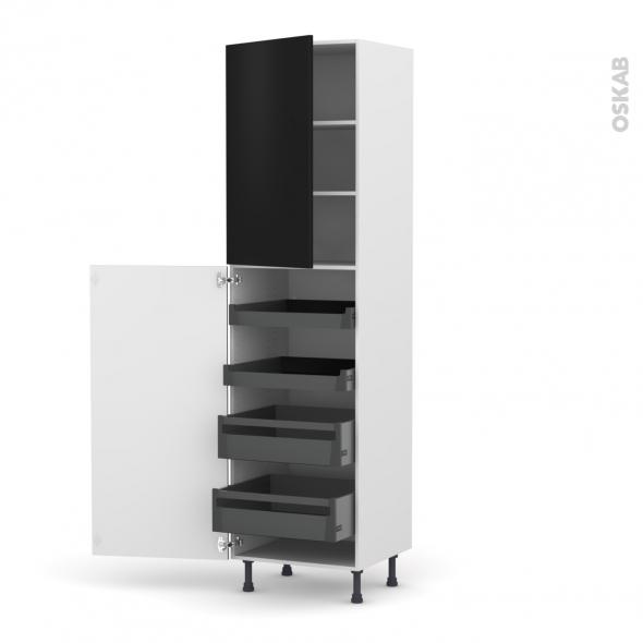 Colonne de cuisine N°2427 - Armoire de rangement - GINKO Noir - 4 tiroirs à l'anglaise - L60 x H217 x P58 cm