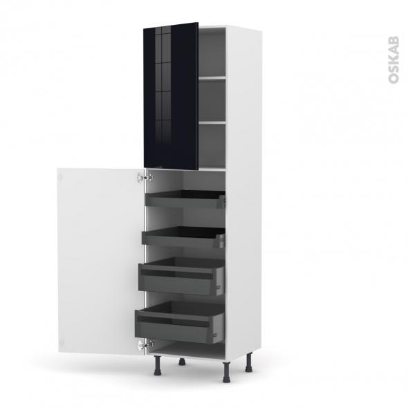 Colonne de cuisine N°2427 - Armoire de rangement - KERIA Noir - 4 tiroirs à l'anglaise - L60 x H217 x P58 cm