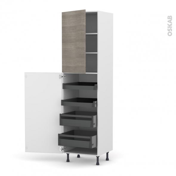Colonne de cuisine N°2427 - Armoire de rangement - STILO Noyer Naturel - 4 tiroirs à l'anglaise - L60 x H217 x P58 cm