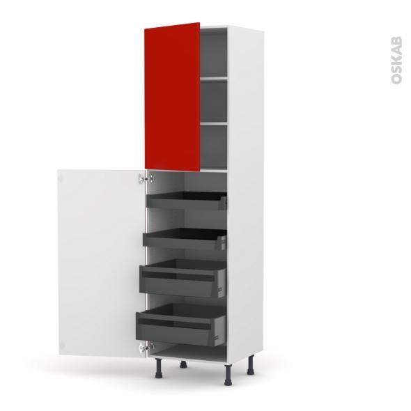 GINKO Rouge - Armoire rangement N°2427 - 4 tiroirs à l'anglaise - L60xH217xP58