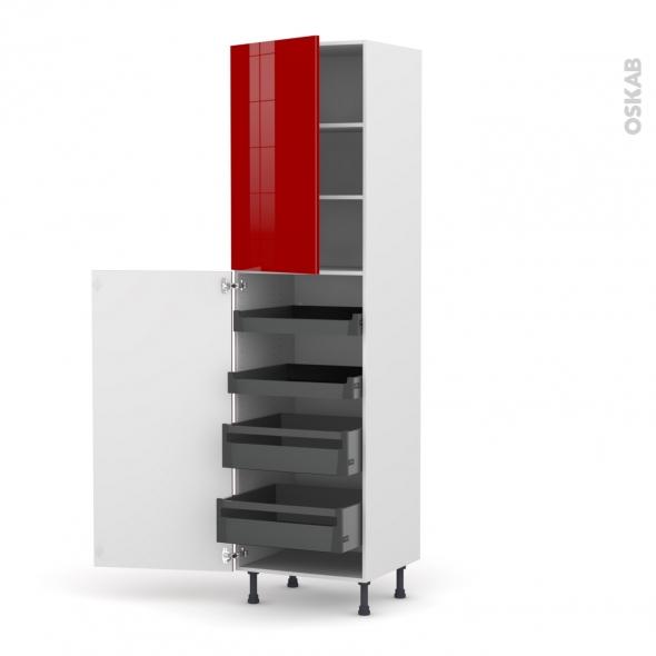 Colonne de cuisine N°2427 - Armoire de rangement - STECIA Rouge - 4 tiroirs à l'anglaise - L60 x H217 x P58 cm