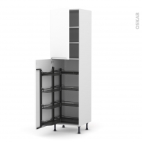 Colonne de cuisine N°27 - Armoire de rangement - PIMA Blanc - 8 paniers plateaux - L60 x H217 x P58 cm