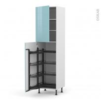 Colonne de cuisine N°2427 - Armoire de rangement - KERIA Bleu - 8 paniers plateaux - L60 x H217 x P58 cm