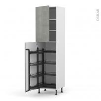 Colonne de cuisine N°27 - Armoire de rangement - FAKTO Béton - 8 paniers plateaux - L60 x H217 x P58 cm