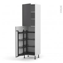 Colonne de cuisine N°2427 - Armoire de rangement - GINKO Gris - 8 paniers plateaux - L60 x H217 x P58 cm