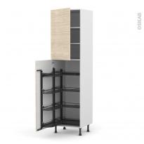 Colonne de cuisine N°2427 - Armoire de rangement - STILO Noyer Blanchi - 8 paniers plateaux - L60 x H217 x P58 cm