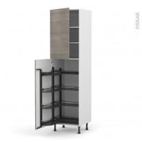 Colonne de cuisine N°2427 - Armoire de rangement - STILO Noyer Naturel - 8 paniers plateaux - L60 x H217 x P58 cm