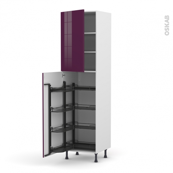 Colonne de cuisine N°2427 - Armoire de rangement - KERIA Aubergine - 8 paniers plateaux - L60 x H217 x P58 cm