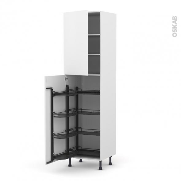 Colonne de cuisine N°2427 - Armoire de rangement - GINKO Blanc - 8 paniers plateaux - L60 x H217 x P58 cm