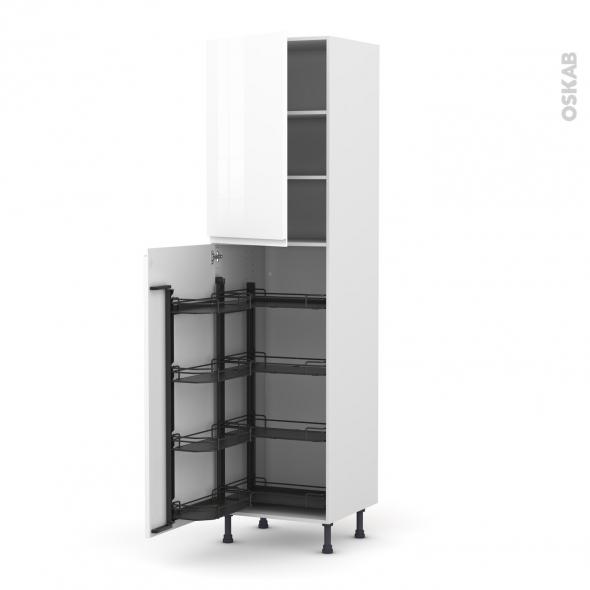 Colonne de cuisine N°2427 - Armoire de rangement - IPOMA Blanc brillant - 8 paniers plateaux - L60 x H217 x P58 cm