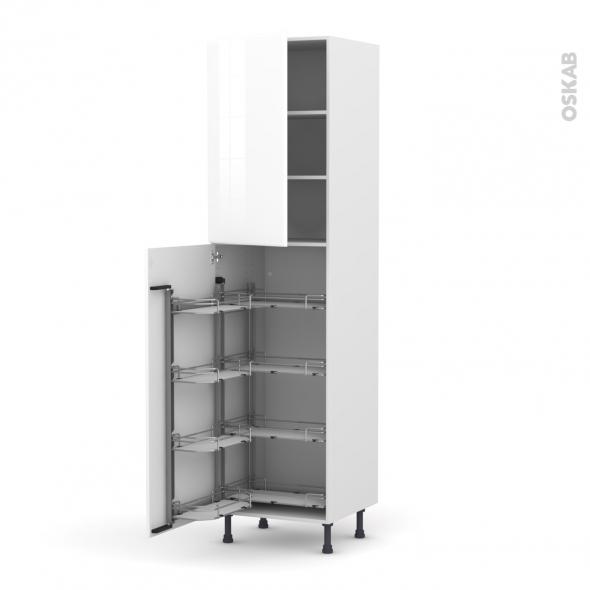 IRIS Blanc - Armoire rangement N°2427  - 8 paniers plateau - L60xH217xP58