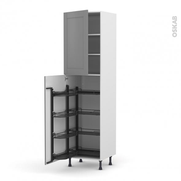 Colonne de cuisine N°27 - Armoire de rangement - FILIPEN Gris - 8 paniers plateaux - L60 x H125 x P58 cm